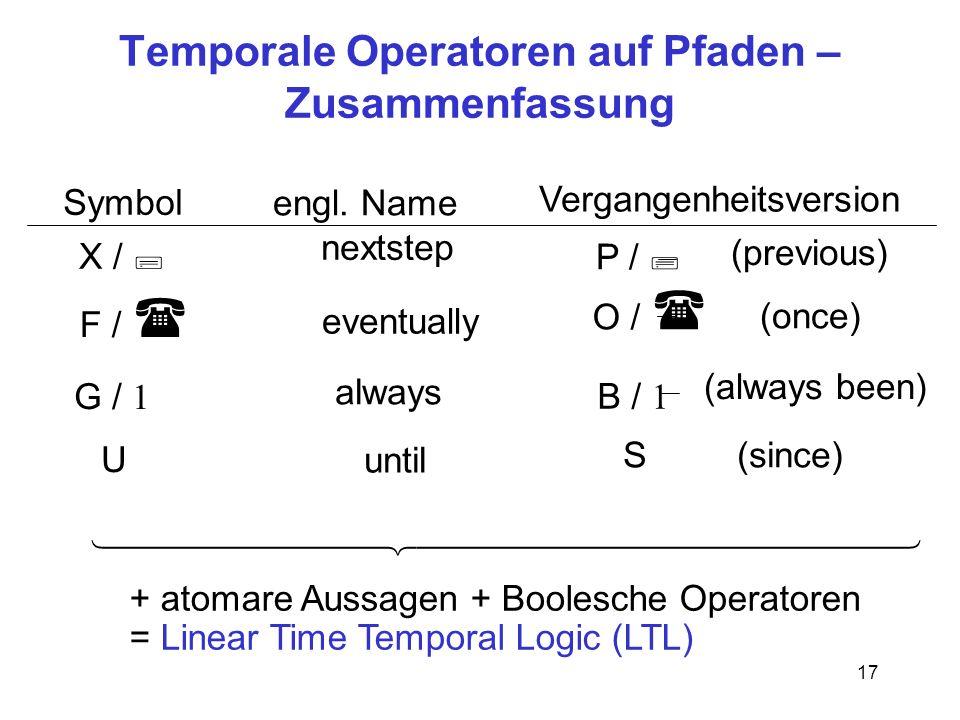 Temporale Operatoren auf Pfaden – Zusammenfassung