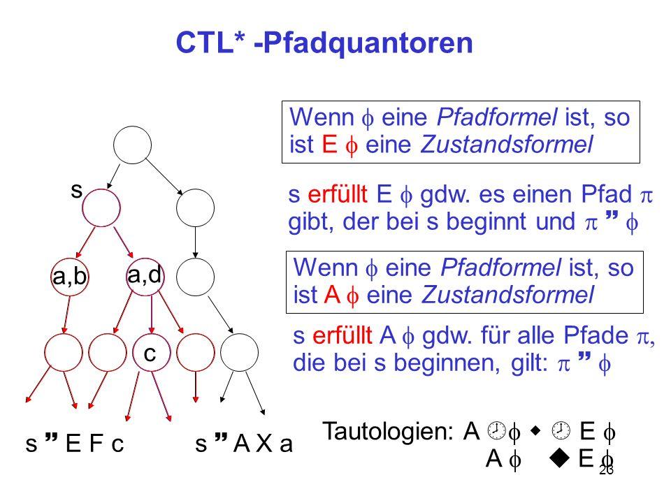 CTL* -Pfadquantoren Wenn f eine Pfadformel ist, so