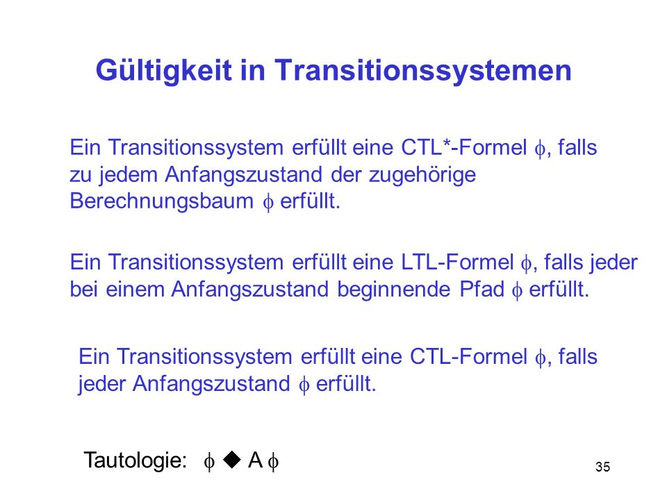 Gültigkeit in Transitionssystemen
