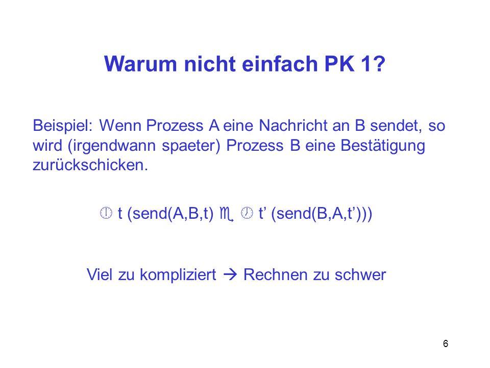 Warum nicht einfach PK 1 Beispiel: Wenn Prozess A eine Nachricht an B sendet, so. wird (irgendwann spaeter) Prozess B eine Bestätigung.