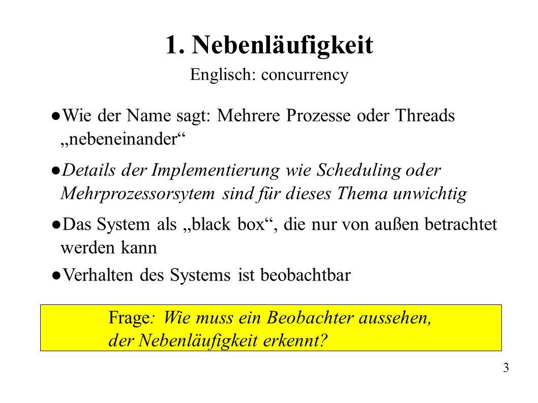 """1. Nebenläufigkeit Englisch: concurrency. Wie der Name sagt: Mehrere Prozesse oder Threads """"nebeneinander"""