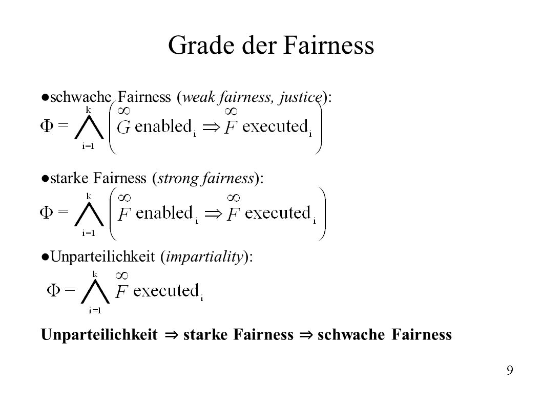 Grade der Fairness schwache Fairness (weak fairness, justice): starke Fairness (strong fairness): Unparteilichkeit (impartiality):