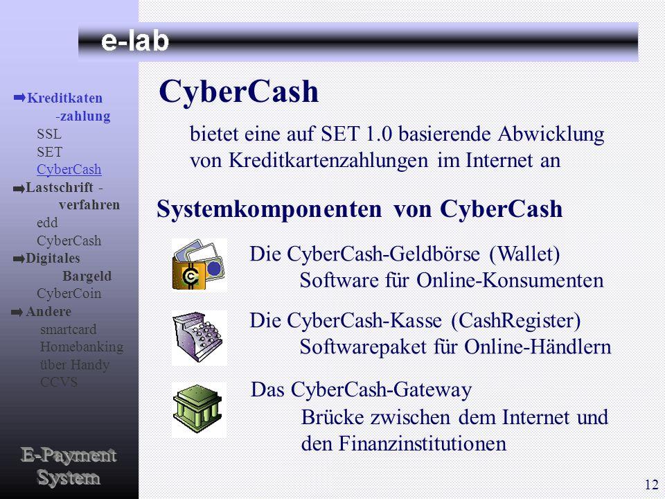 E-Payment System CyberCash Systemkomponenten von CyberCash