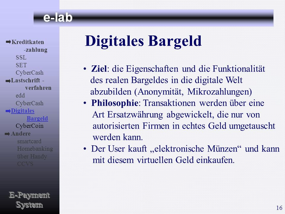 Digitales Bargeld E-Payment System