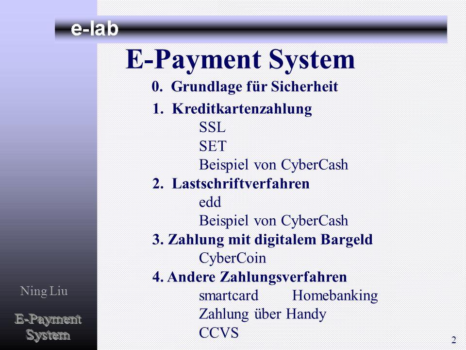 E-Payment System E-Payment System 0. Grundlage für Sicherheit SSL SET
