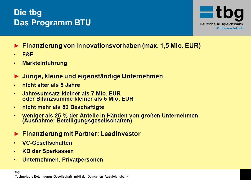 Die tbg Das Programm BTU