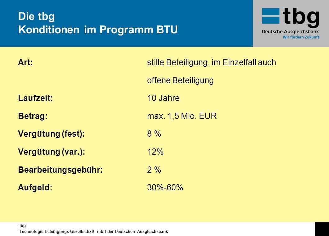 Die tbg Konditionen im Programm BTU