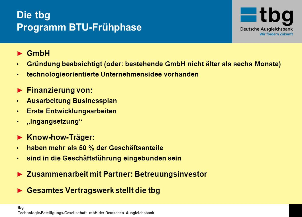 Die tbg Programm BTU-Frühphase