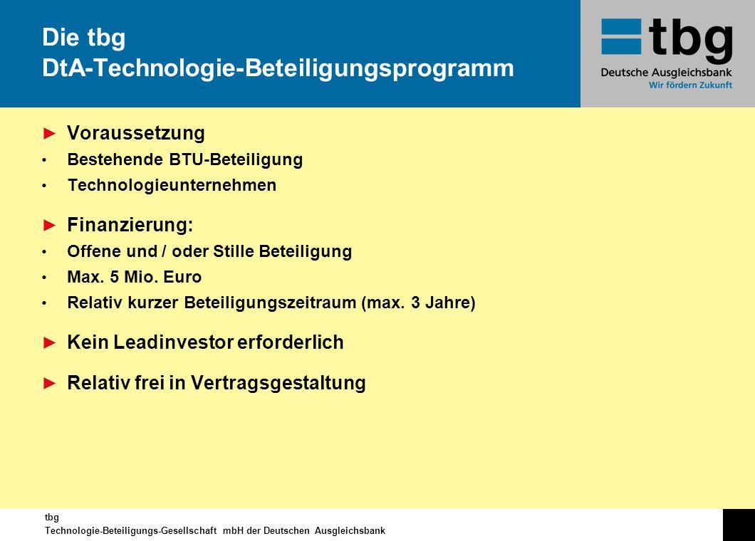 Die tbg DtA-Technologie-Beteiligungsprogramm