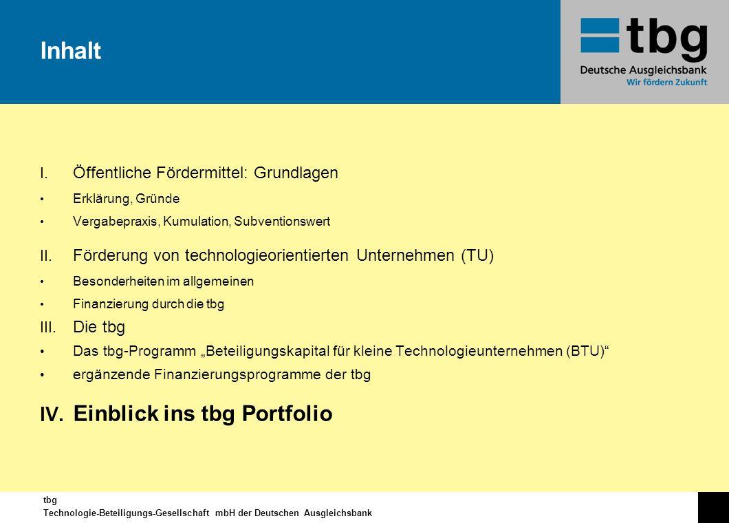 Inhalt Einblick ins tbg Portfolio Öffentliche Fördermittel: Grundlagen