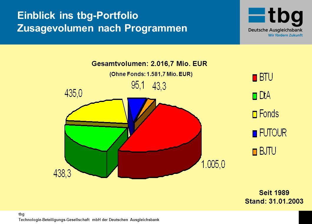 Einblick ins tbg-Portfolio Zusagevolumen nach Programmen