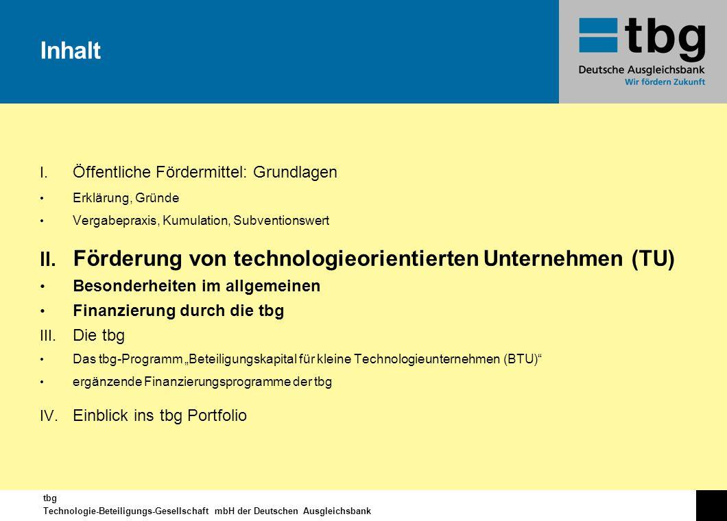 Inhalt Förderung von technologieorientierten Unternehmen (TU)