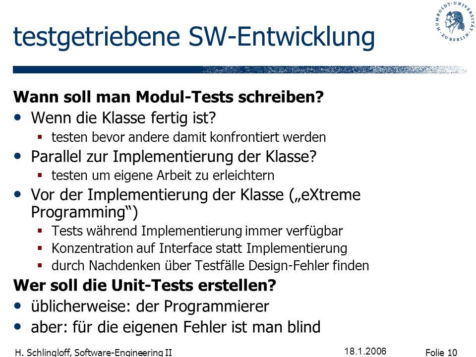 testgetriebene SW-Entwicklung
