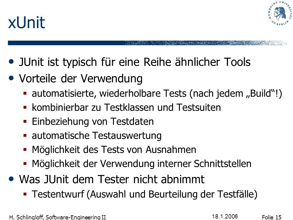 xUnit JUnit ist typisch für eine Reihe ähnlicher Tools