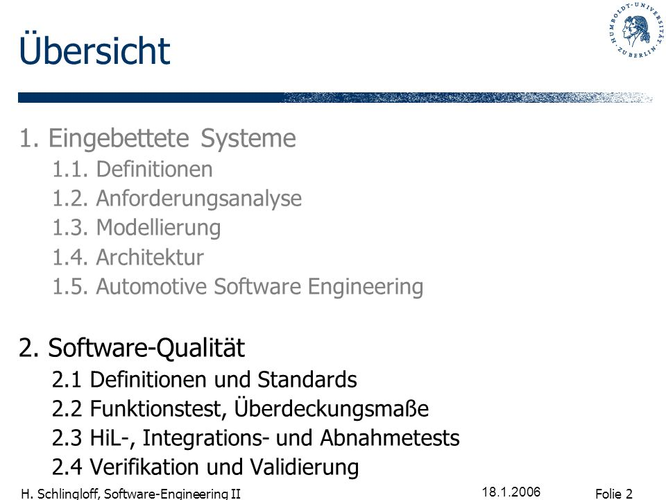 Übersicht 1. Eingebettete Systeme 2. Software-Qualität