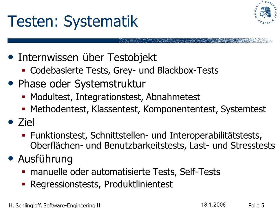 Testen: Systematik Internwissen über Testobjekt