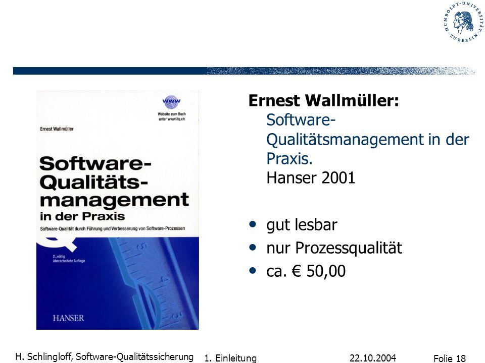 Ernest Wallmüller: Software-Qualitätsmanagement in der Praxis
