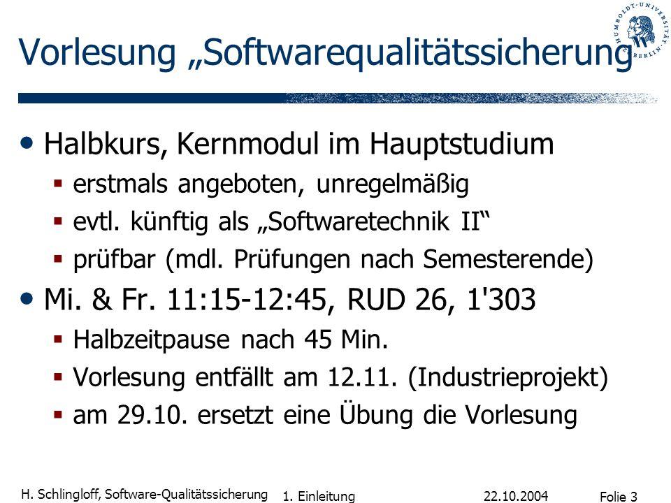 """Vorlesung """"Softwarequalitätssicherung"""