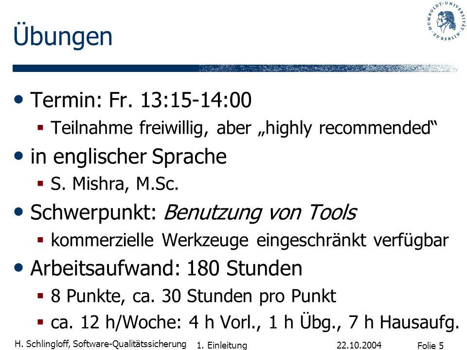 Übungen Termin: Fr. 13:15-14:00 in englischer Sprache