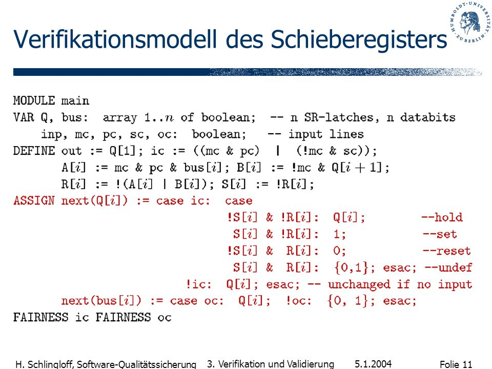 Verifikationsmodell des Schieberegisters