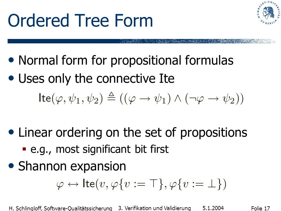 Ordered Tree Form Normal form for propositional formulas