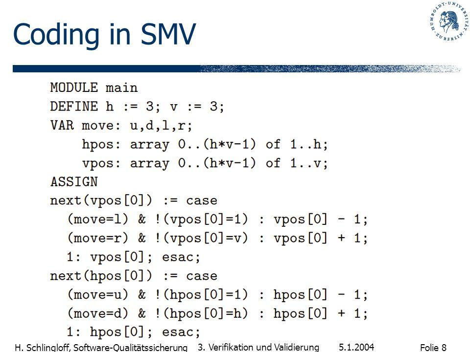 Coding in SMV 3. Verifikation und Validierung 5.1.2004