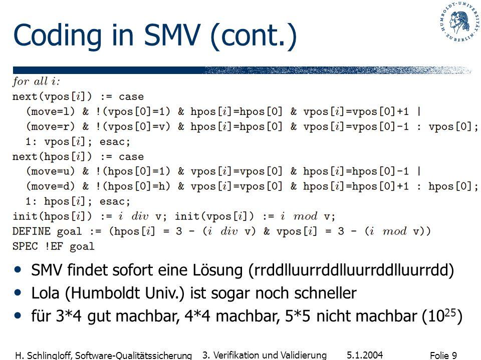 Coding in SMV (cont.) SMV findet sofort eine Lösung (rrddlluurrddlluurrddlluurrdd) Lola (Humboldt Univ.) ist sogar noch schneller.