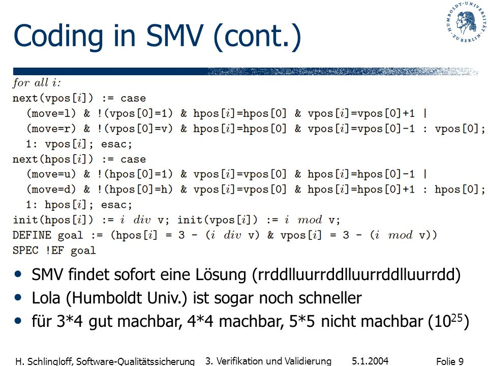 Coding in SMV (cont.)SMV findet sofort eine Lösung (rrddlluurrddlluurrddlluurrdd) Lola (Humboldt Univ.) ist sogar noch schneller.