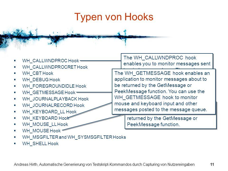 Typen von Hooks WH_CALLWNDPROC Hook. WH_CALLWNDPROCRET Hook. WH_CBT Hook. WH_DEBUG Hook. WH_FOREGROUNDIDLE Hook.