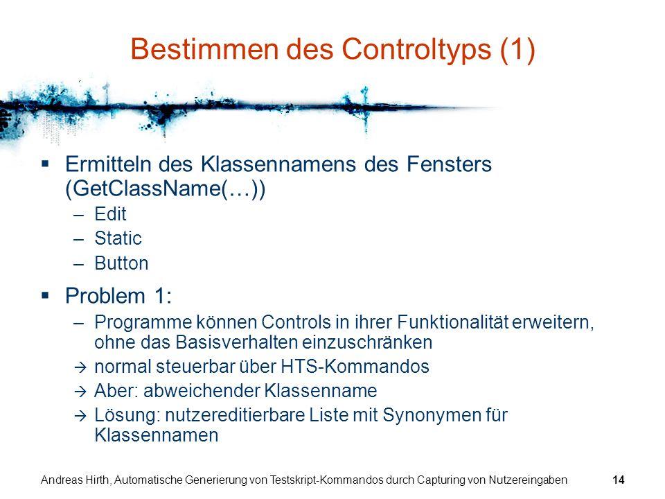 Bestimmen des Controltyps (1)