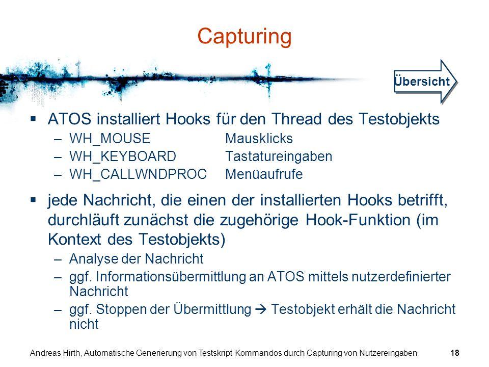 Capturing ATOS installiert Hooks für den Thread des Testobjekts
