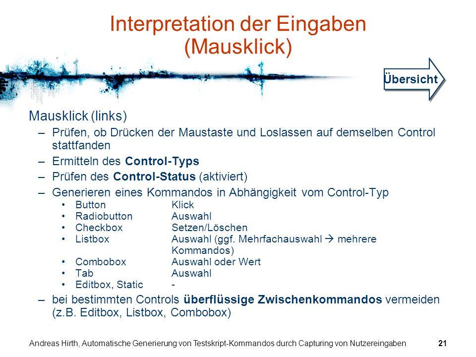 Interpretation der Eingaben (Mausklick)