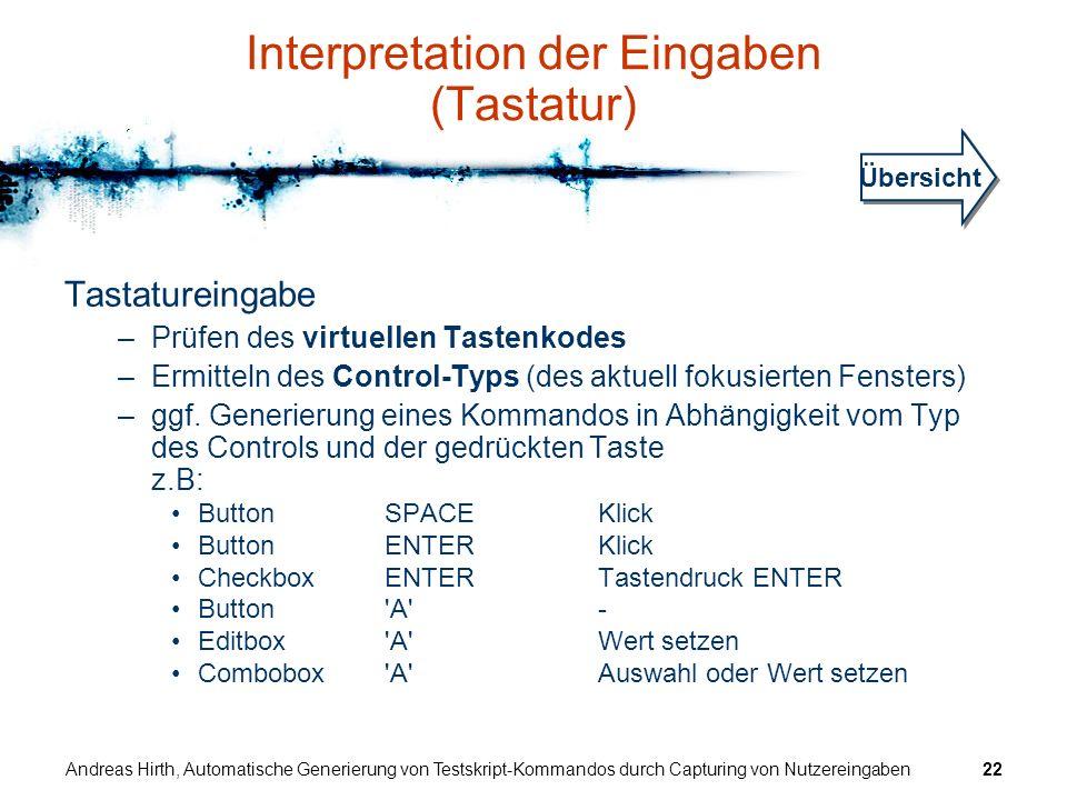 Interpretation der Eingaben (Tastatur)