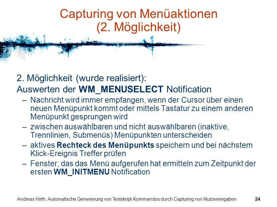 Capturing von Menüaktionen (2. Möglichkeit)
