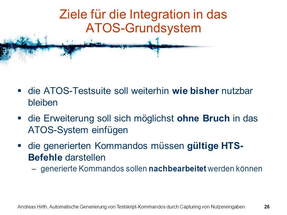 Ziele für die Integration in das ATOS-Grundsystem