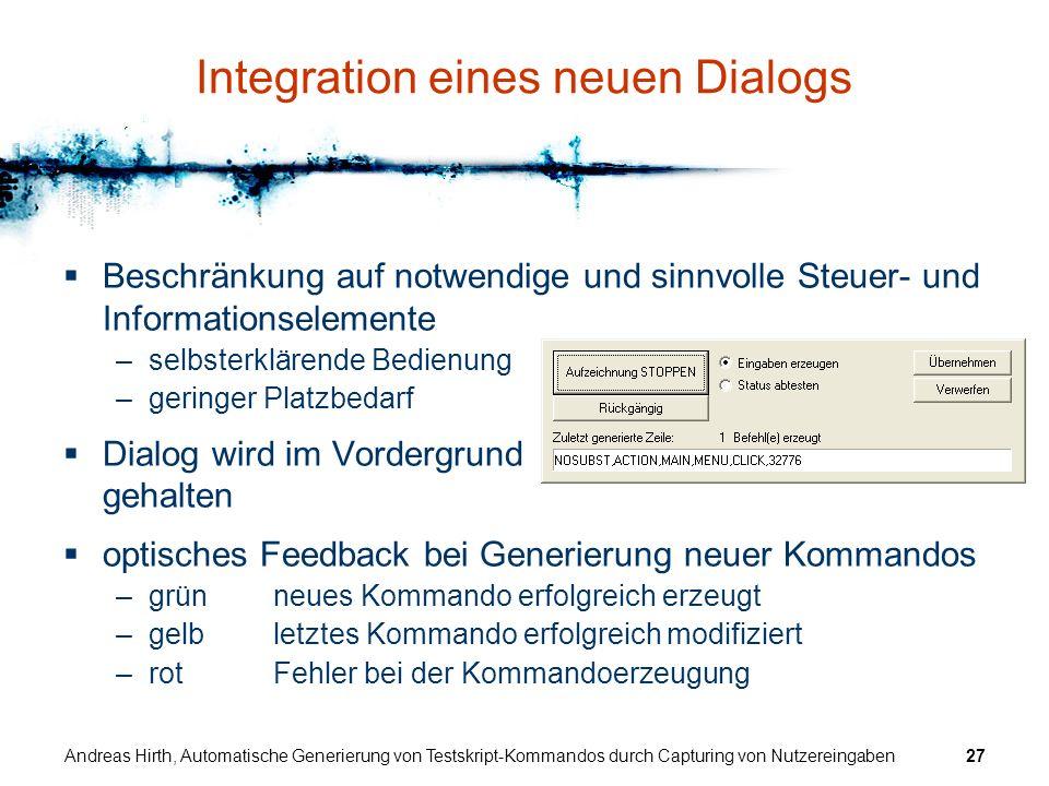 Integration eines neuen Dialogs
