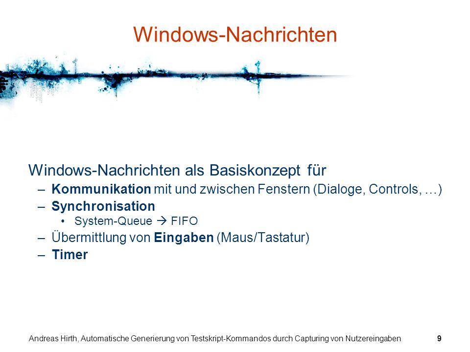 Windows-Nachrichten Windows-Nachrichten als Basiskonzept für
