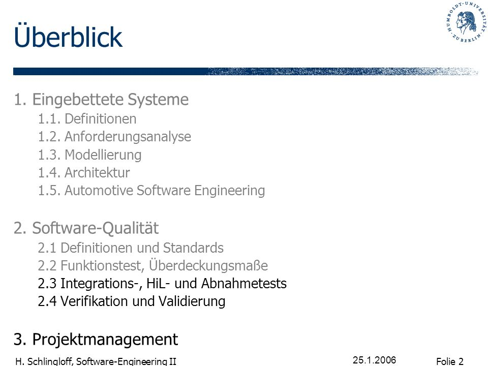Überblick 1. Eingebettete Systeme 2. Software-Qualität