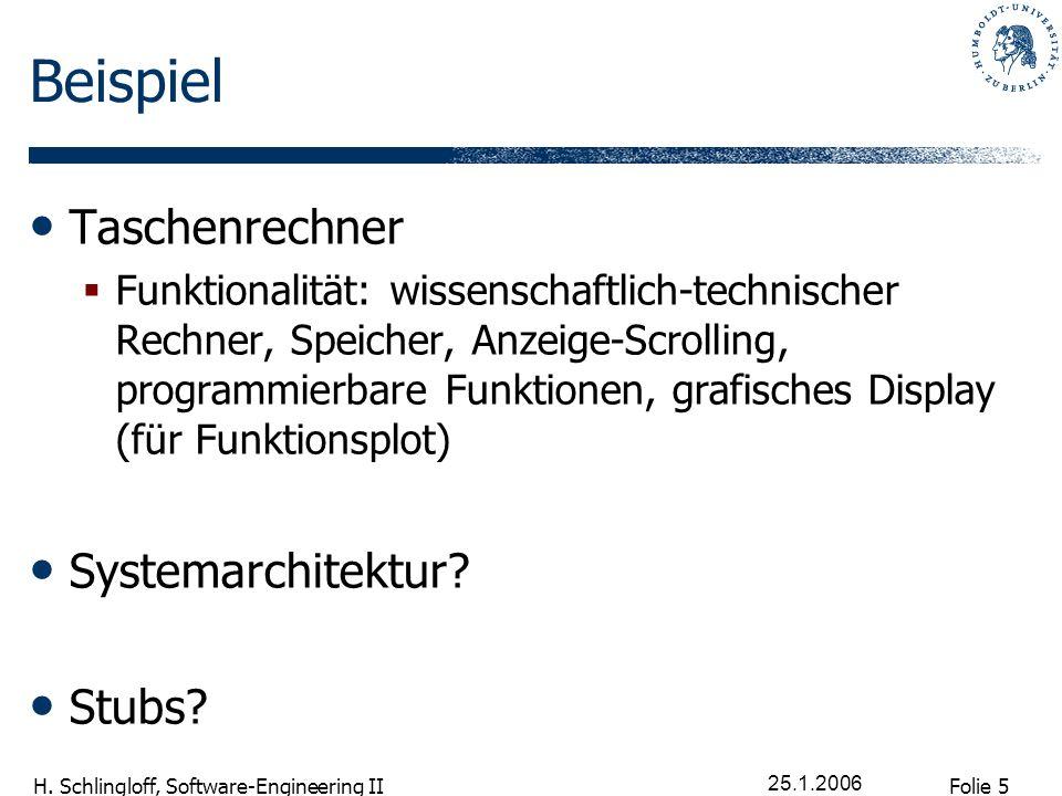 Beispiel Taschenrechner Systemarchitektur Stubs