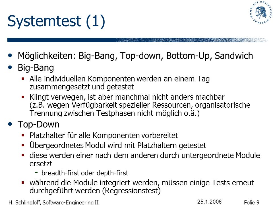 Systemtest (1) Möglichkeiten: Big-Bang, Top-down, Bottom-Up, Sandwich