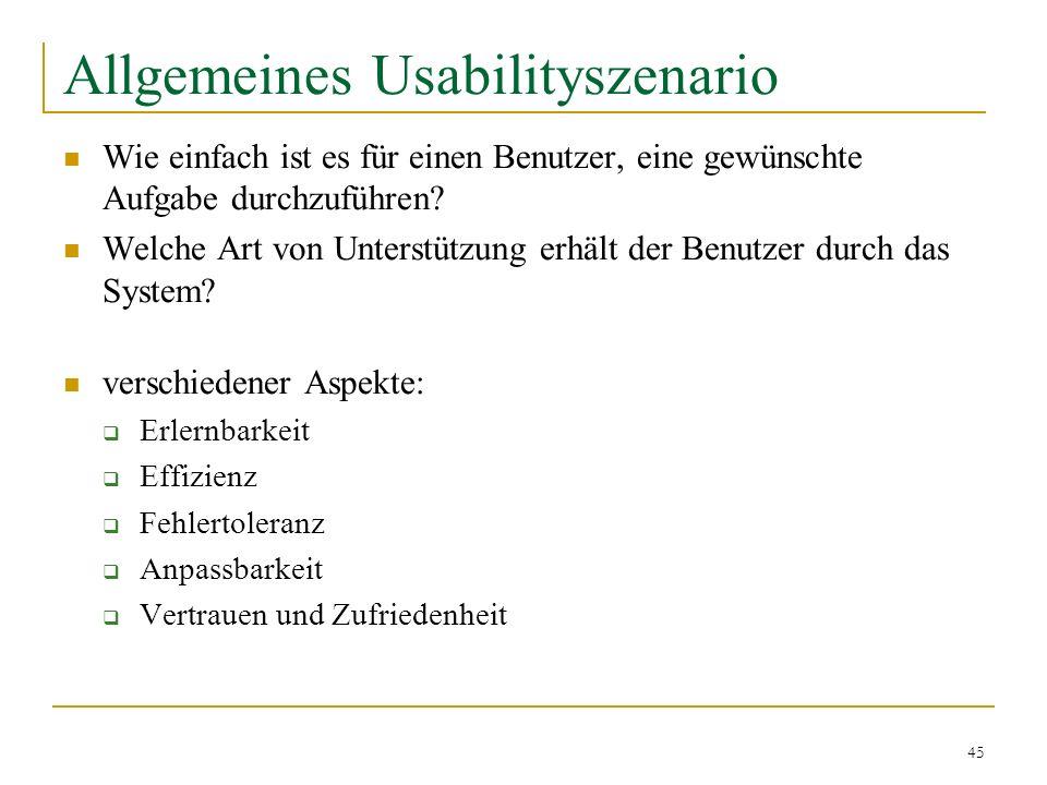 Allgemeines Usabilityszenario