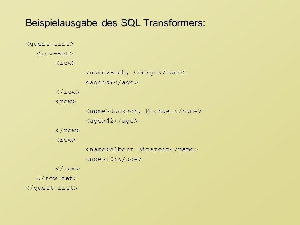 Beispielausgabe des SQL Transformers: