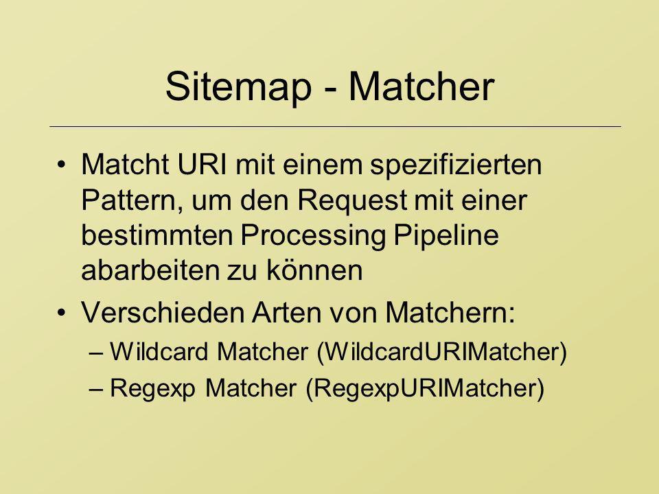 Sitemap - MatcherMatcht URI mit einem spezifizierten Pattern, um den Request mit einer bestimmten Processing Pipeline abarbeiten zu können.