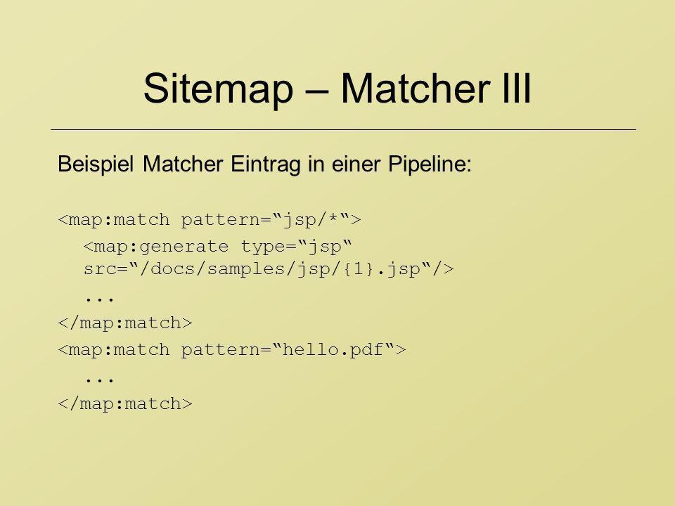 Sitemap – Matcher III Beispiel Matcher Eintrag in einer Pipeline:
