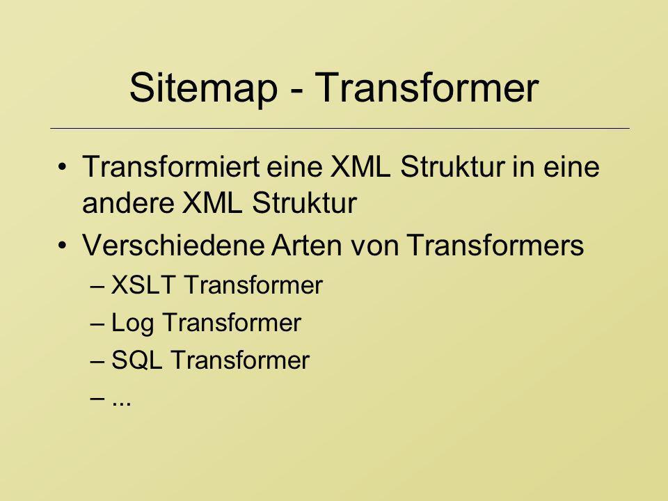 Sitemap - Transformer Transformiert eine XML Struktur in eine andere XML Struktur. Verschiedene Arten von Transformers.