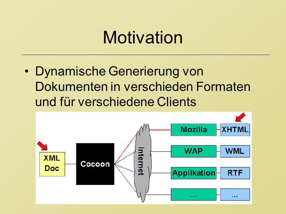 Motivation Dynamische Generierung von Dokumenten in verschieden Formaten und für verschiedene Clients.