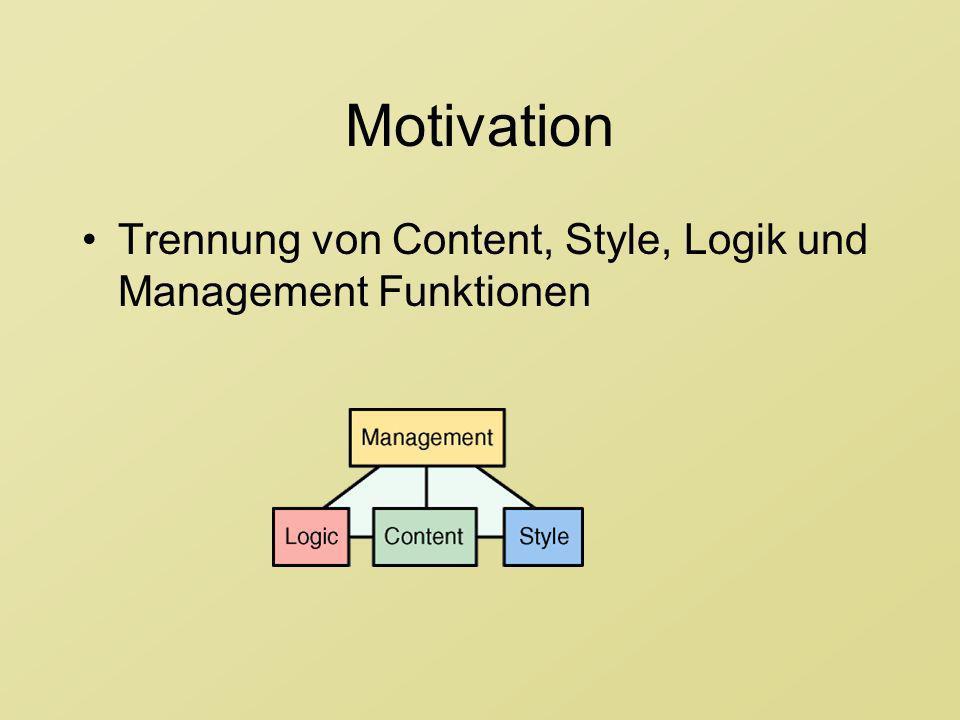 Motivation Trennung von Content, Style, Logik und Management Funktionen. Komponentenbasierte Architektur -> Wiederverwendbarkeit.