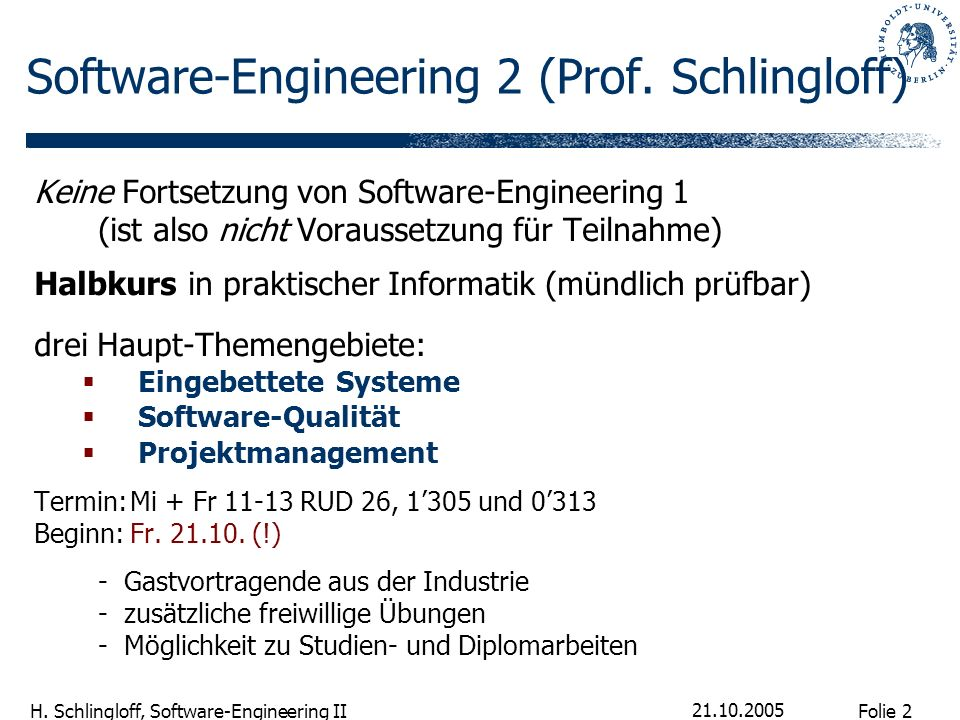 Software-Engineering 2 (Prof. Schlingloff)