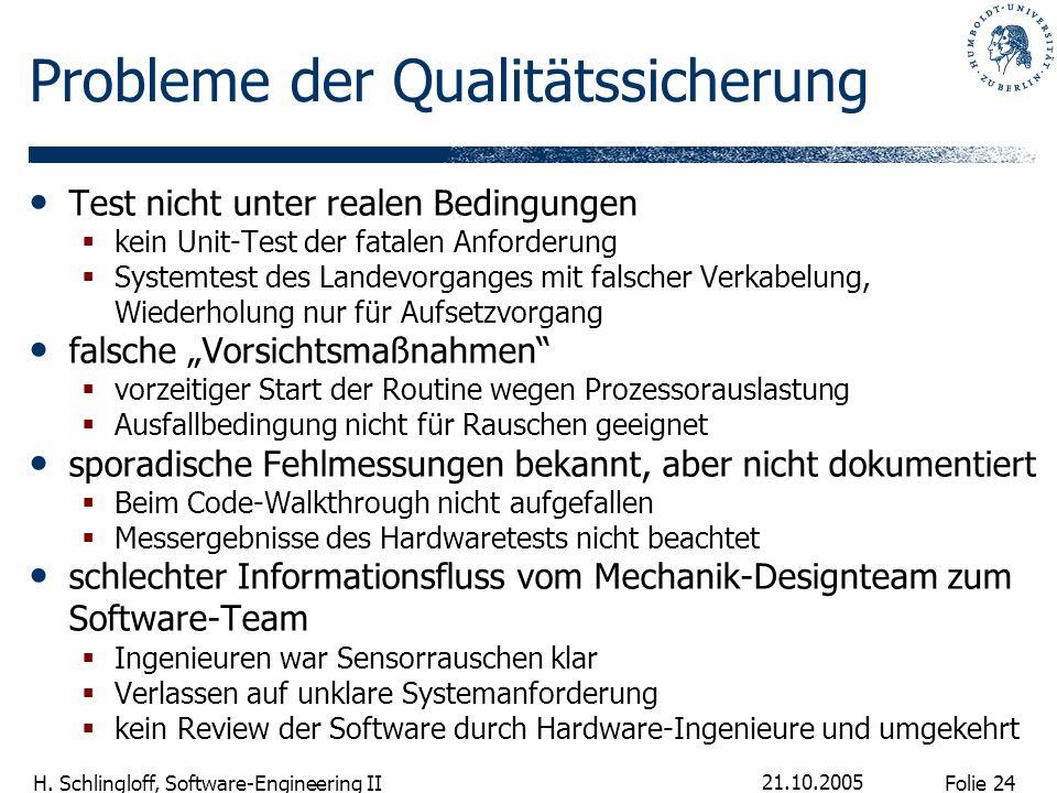 Probleme der Qualitätssicherung