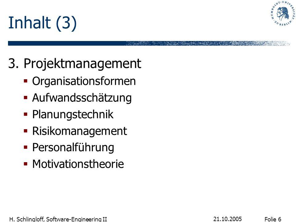 Inhalt (3) 3. Projektmanagement Organisationsformen Aufwandsschätzung